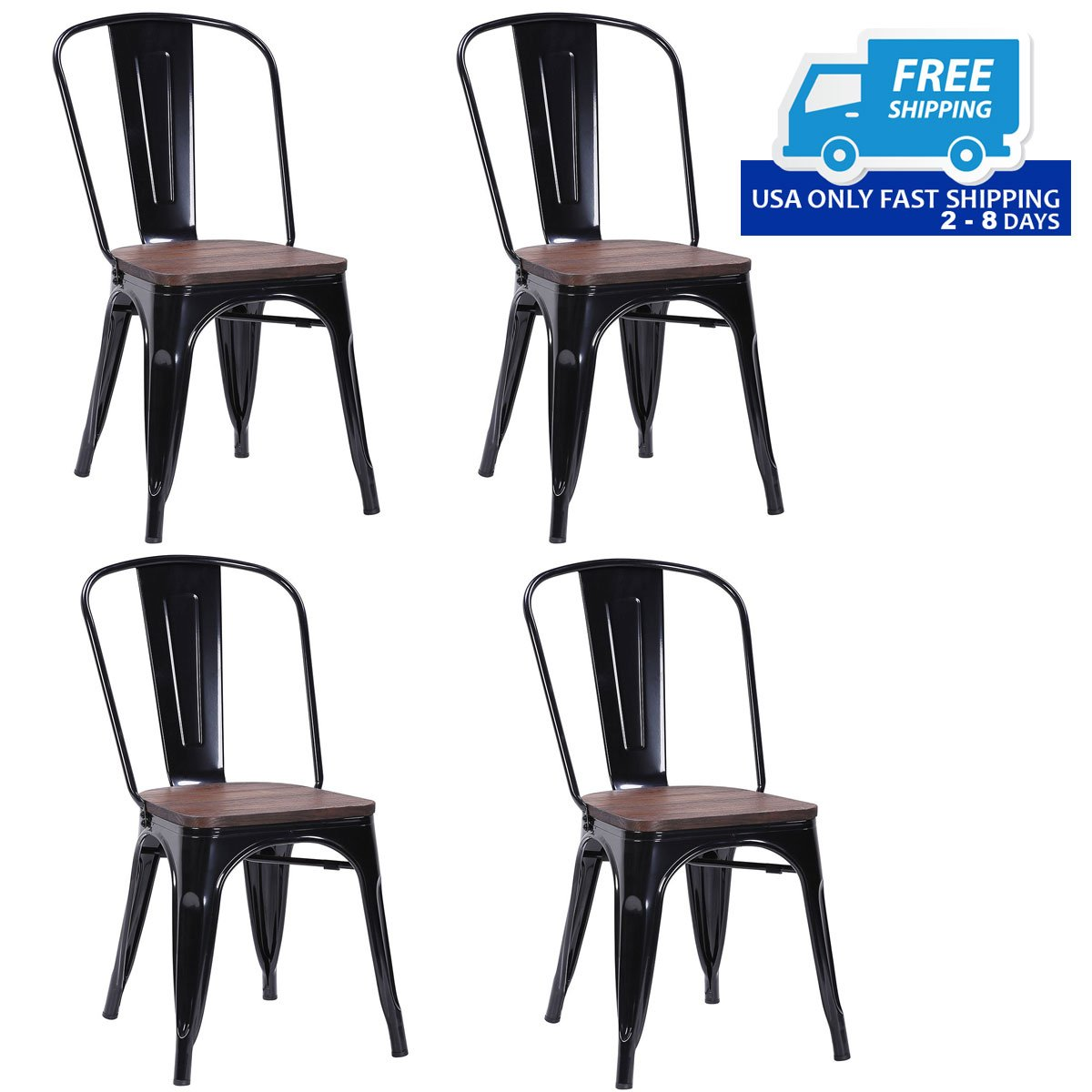 Set of 4 Stackable Tolix Style Metal Wood Dining Side ...