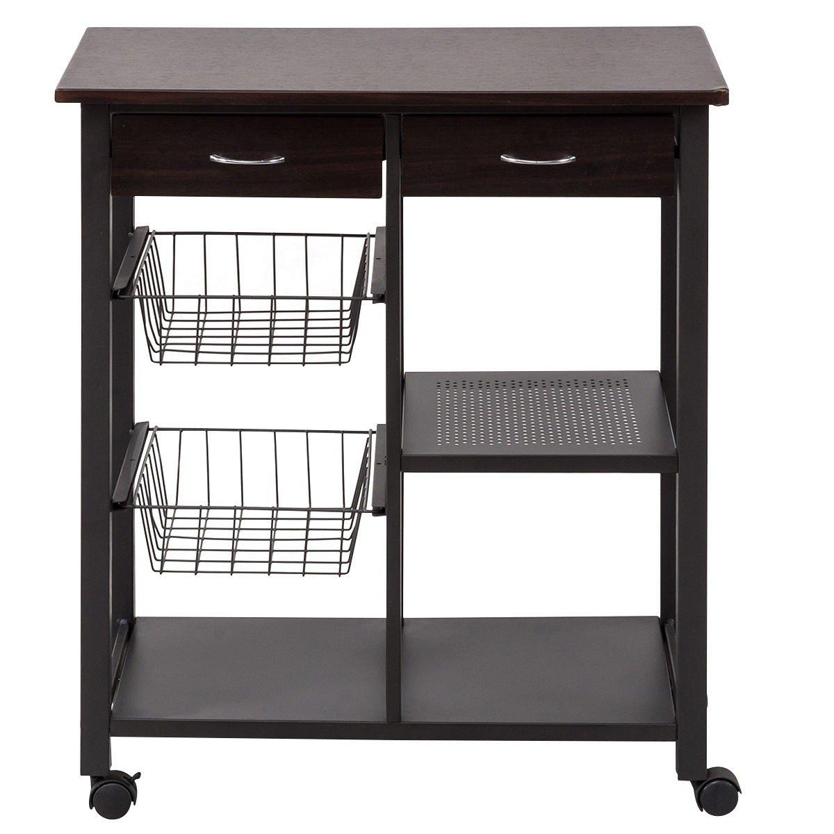Utility Rolling Kitchen Trolley Cart w/ Drawer Basket Shelf – By ...