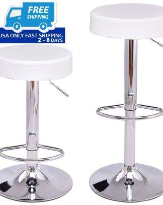 Set of 2 Adjustable Round PU Seat Swivel Bar Stool