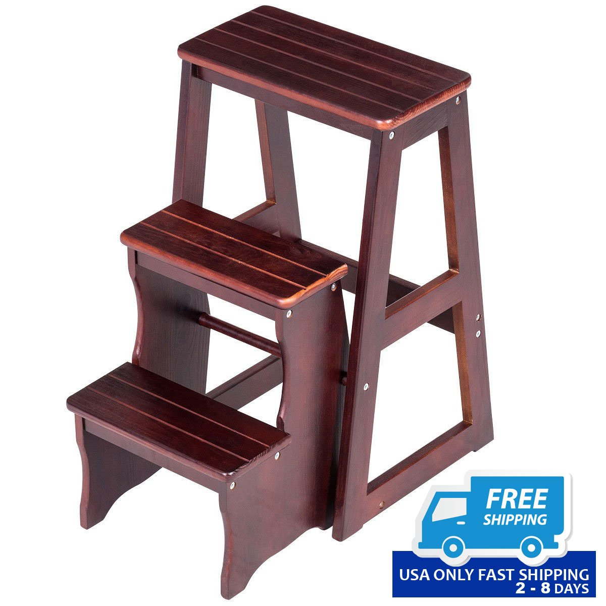 3 tier folding wood step ladder stool bench by choice products. Black Bedroom Furniture Sets. Home Design Ideas