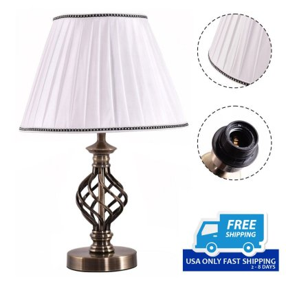 "13"" White Antique Brass LED Bulb Table Lamp"