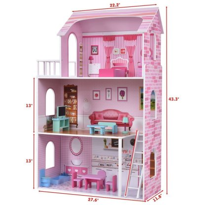Kids Wood Doll Cottage House Playset w/ Furniture