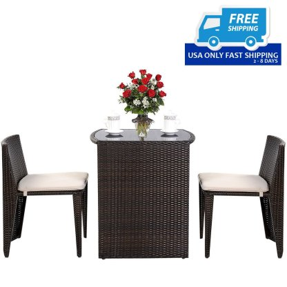 3 pcs Wicker Patio Cushioned Outdoor Seat