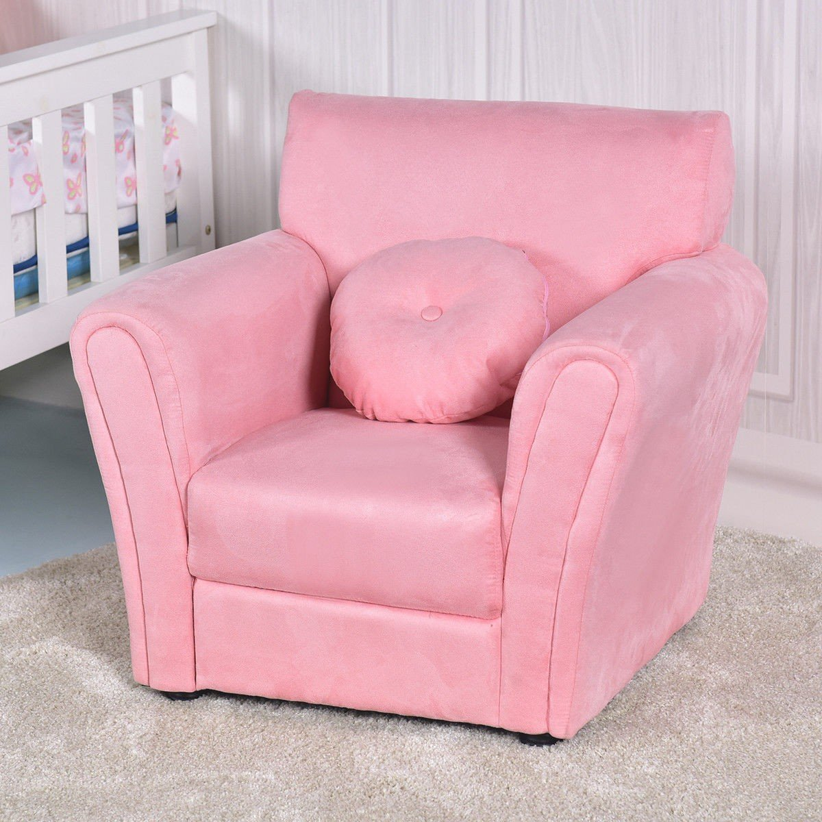children s living room chairs slip covered armrest chair kids sofa with pillow  by