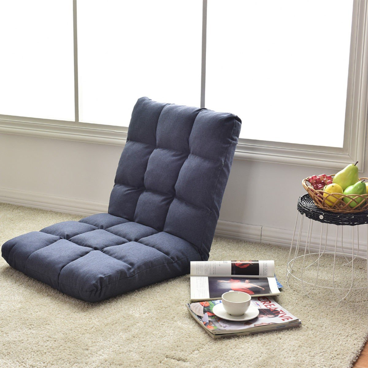 14-Position Adjustable Cushioned Floor Gaming Sofa Chair ...