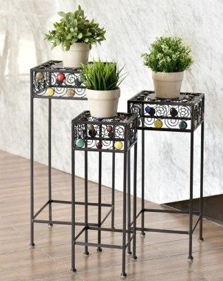 3 pcs Square Ceramic Beads Decor Metal Plant Stand