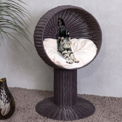 """17"""" Ball Hooded Rattan Cat Bed with Cushion"""