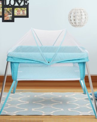Foldable Alumnium Baby Crib Bed w/ Mosquito Net and Carry Bag