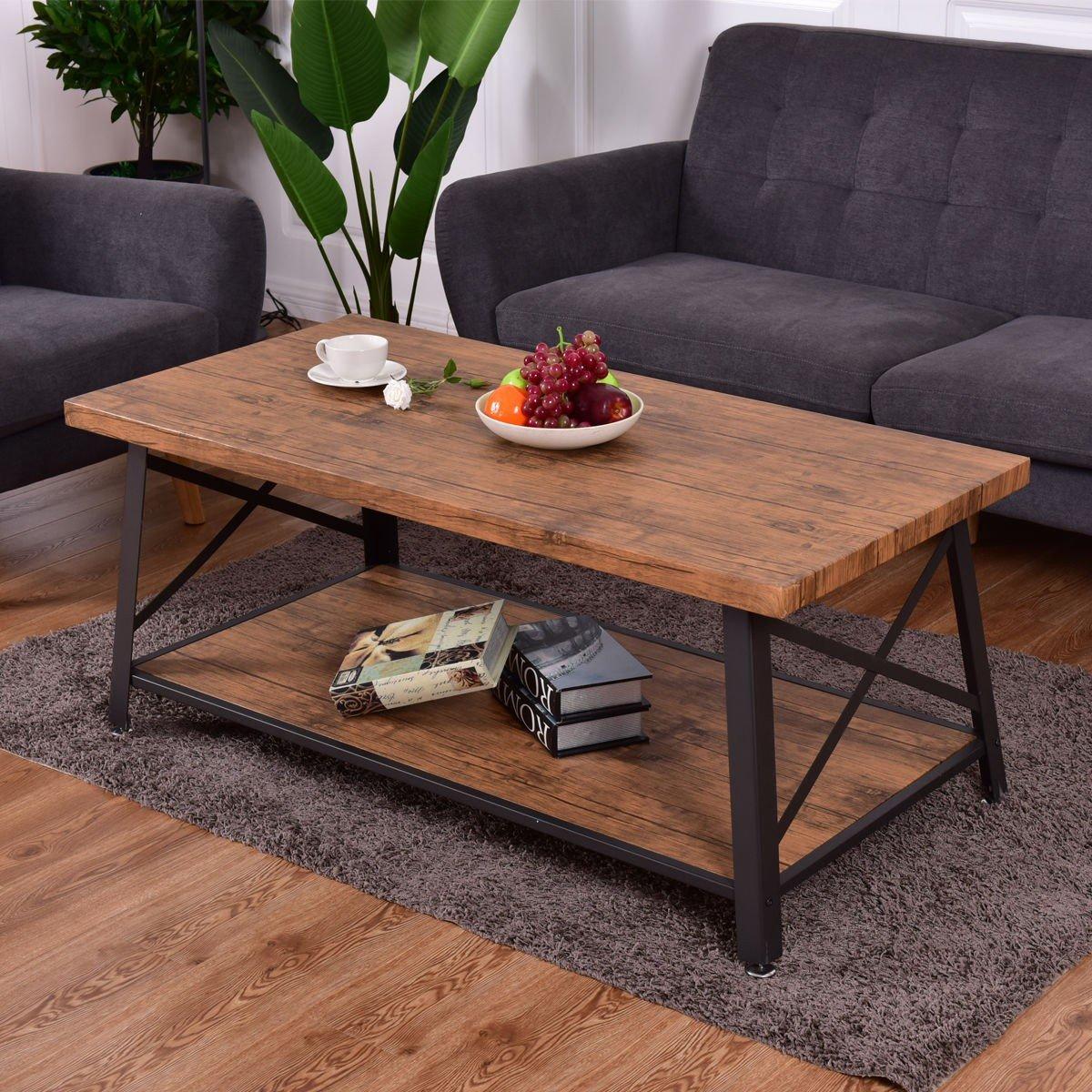Rectangular Metal Frame Wood Coffee Table with Storage ...