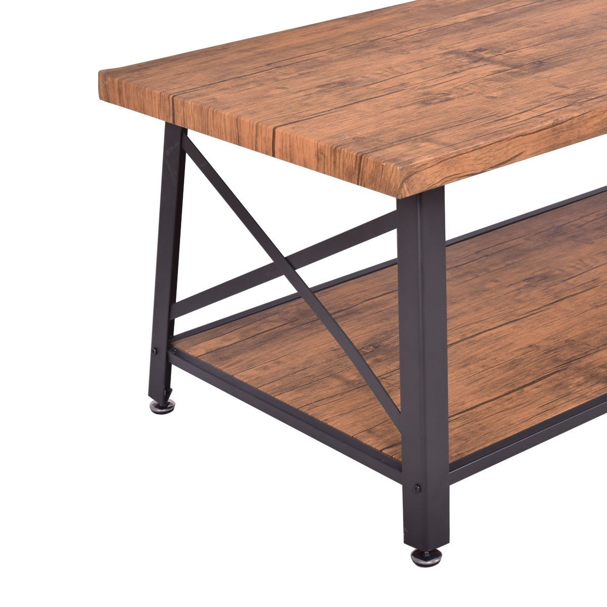 Rectangular Metal Frame Wood Coffee Table with Storage Shelf By