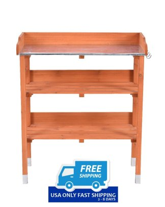 Garden Wooden Potting Bench Work Station with Hook