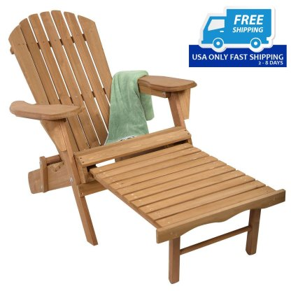 Outdoor Foldable Wood Pull Out Adirondack Chair