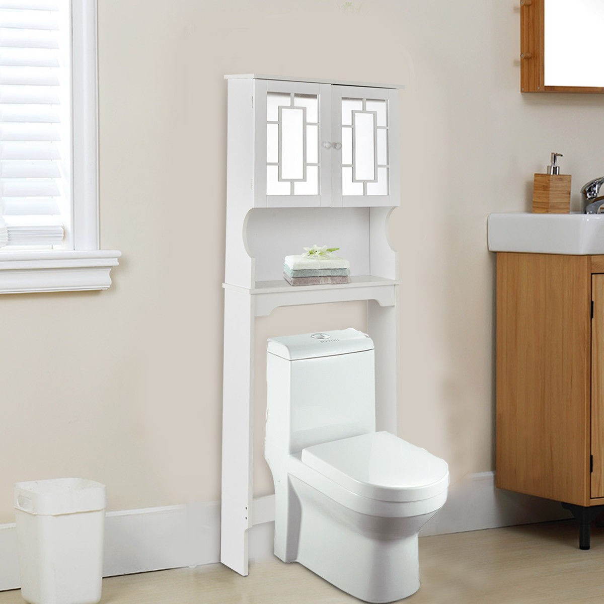 bathroom over toilet space saver storage cabinet shelf