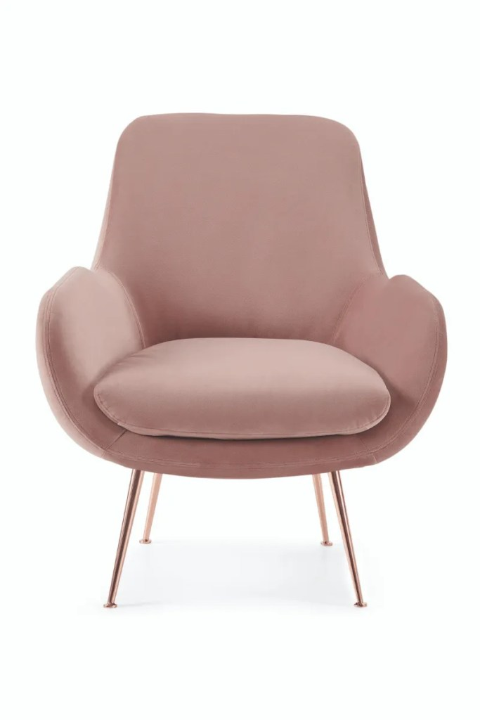 Made.Com Moby Accent Chair - Vintage Pink Velvet