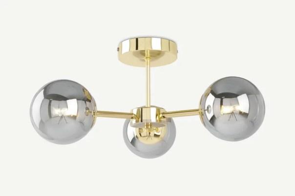 Made.com GlobeFlush Pendant, Brass and Smoked Glass