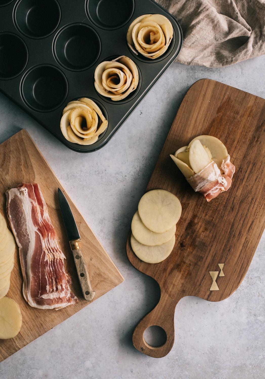madmuffins, til brunchbordet, kartoffelroser, bacon, kartofler