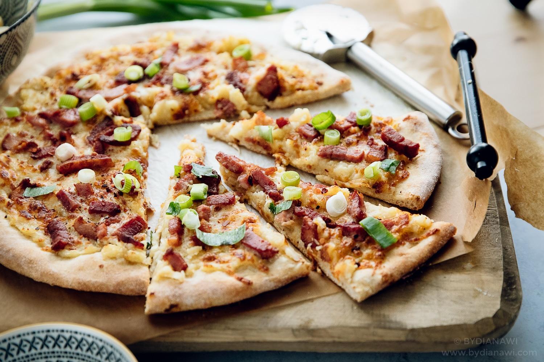 kartoffelmos pizza, ristet løg, bacon, hjemmelavet pizza, frysemad