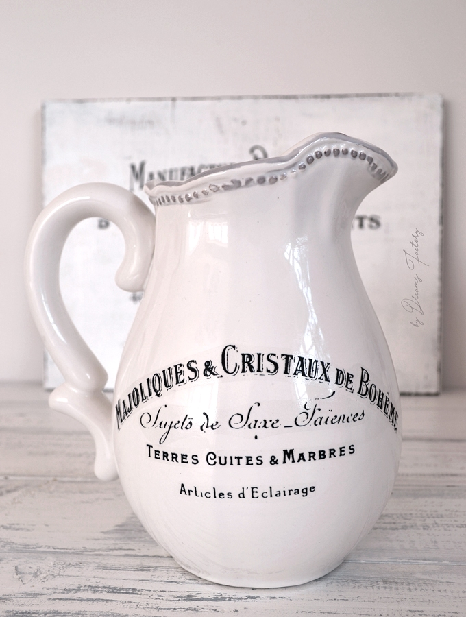 DIY 5 Minute Decal Transfer on a Pitcher - the perfect way to revamp and give a new chic look to plain white pitchers in just 5 minutes! - by Dreams Factory