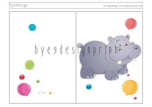 Flodhest - children birthdaycard - bye9design digitalt print - nordic design
