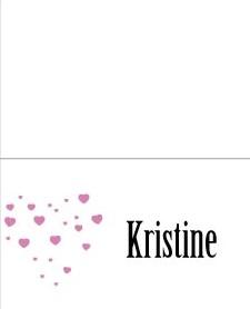 Pink heart -placecard - bye9design digitalt print - nordic design