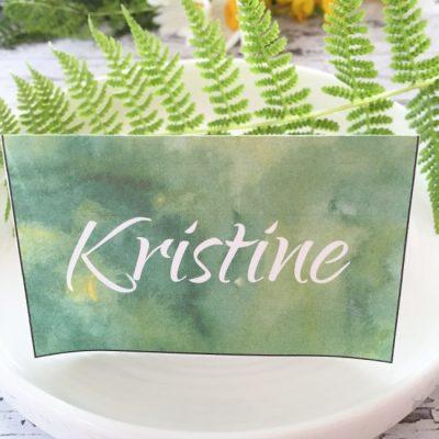 Skog bordkort - denne hvite skriften følger med, og kan redigeres.