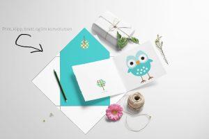Blå ugle - kort med konvolutt -