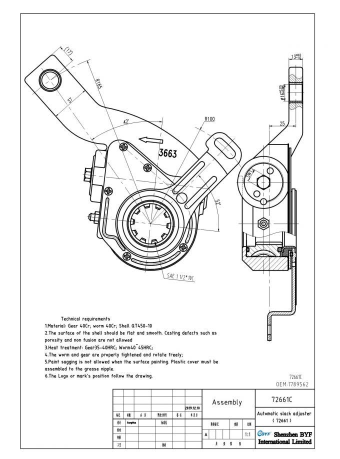 Haldex 1 Hole 10 Teeth Automatic Slack Adjuster 72661