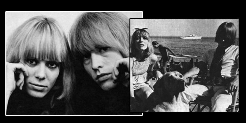 (Anita Pallenberg con Brian Jones 1966) y (Suki Potier con Brian Jones 1968 después de la muerte de Tara en 1966) ambas novias de Tara Browne respectivamente.