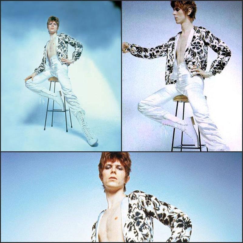 Sesión de fotos de Brian Ward para el disco The Rise and The Fall of Ziggy Stardust and The Spiders from Mars con un Bowie todavía en plena mutación hacia el look definitivo oriental de Ziggy.