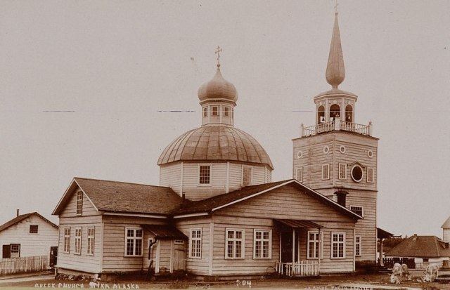 St. Michael's Cathedral, a Russian Orthodox church in Sitka, Alaska, 1892.