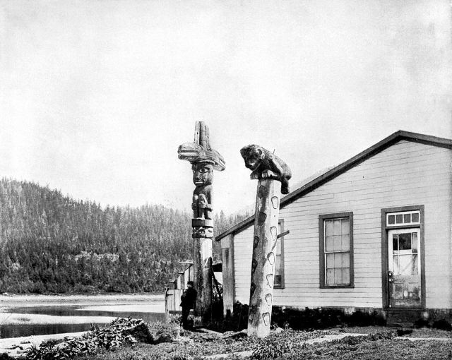 Totem Poles, Alaska, 1893.