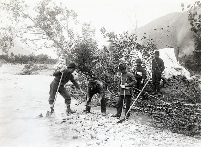Klondike miners washing out gold, 1897.