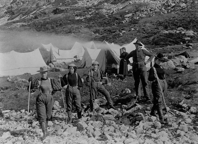A group of actresses bound for the Klondike gold fields take a break at Happy Camp, Alaska, 1897.