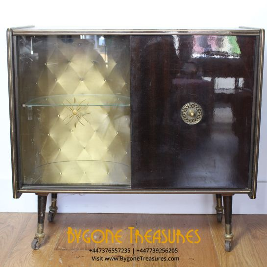 Drinks Cabinet With Interior Light And Reflective Panel Insert