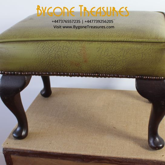 Green Leatherette Footstool