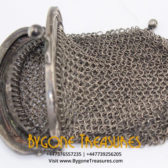 Antique Victorian French Silver Chatelaine Chainmail Mesh Coin Purse
