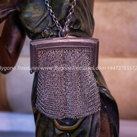 Vintage square Chainmail Link Coin Purse with chain handle