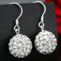 Fashion White Shining Diamond Ball Silver Women Drop