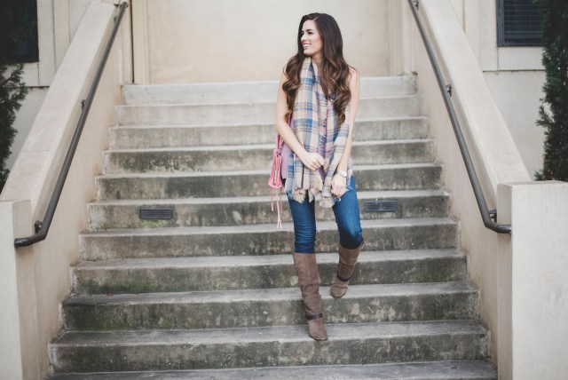 Fall outfit in Austin with a blanket scarf and Zooshoo boots