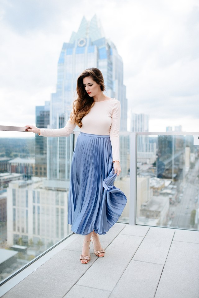 Rooftop style in a pleated skirt at the Westin Hotel in Downtown Austin, Holiday Party Style, By, Hilary Rose