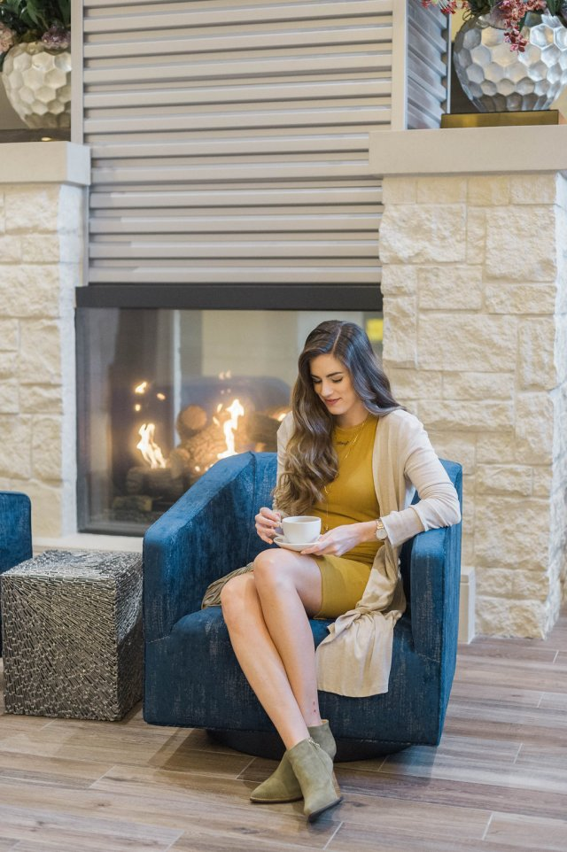 By, Hilary Rose 4 Tips for Successful Online Shopping, mustard dress and long cardigan