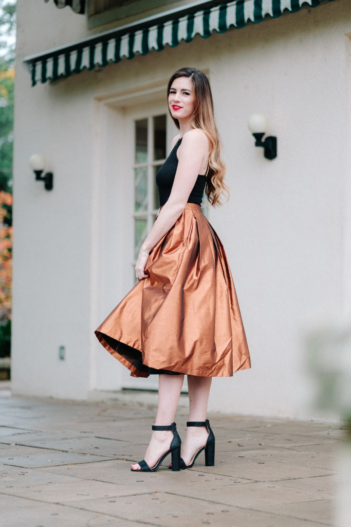 Metallic Midi Skirt + NYE Makeup Tips