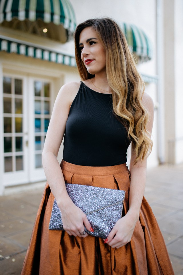 Metallic copper midi skirt for NYE and makeup tips | By, Hilary Rose | Austin Blogger | Austin Blog