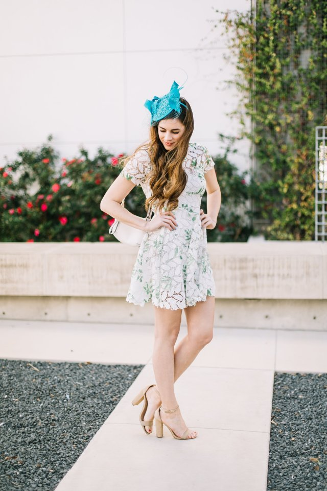 how-to-celebrate-the kentucky derby | derby style | fascinator from nordstrom and dress from Chicwish | By, Hilary Rose Southern Blogger