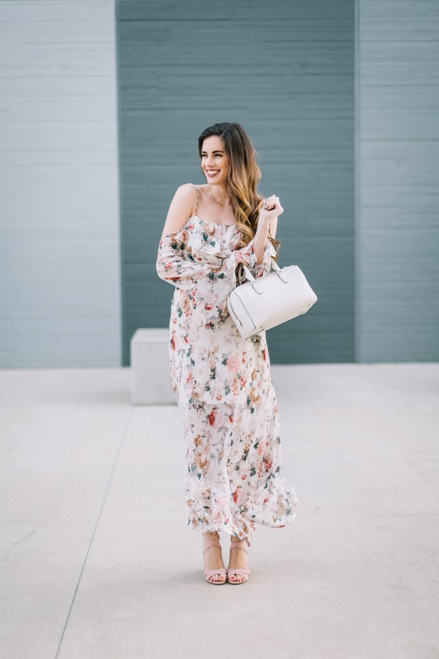 What to wear to a sunday brunch | By Hilary Rose Austin blogger wearing a spring floral maxi dress and Henri Bendel bag and blush lace up heels