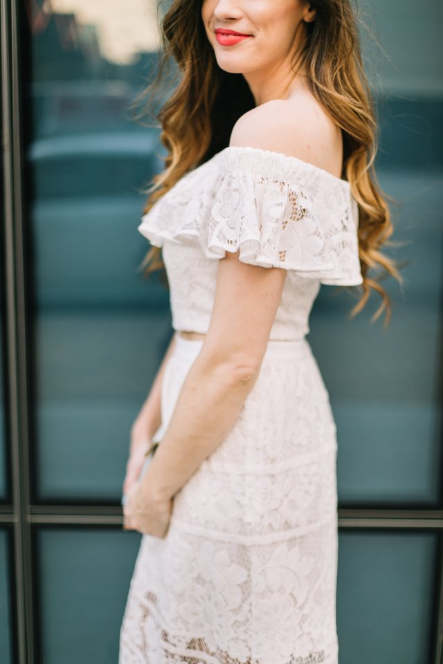 White off the shoulder lace two piece set with blush lace-heels | Austin Blog | Fashion Blogger | By, Hilary Rose