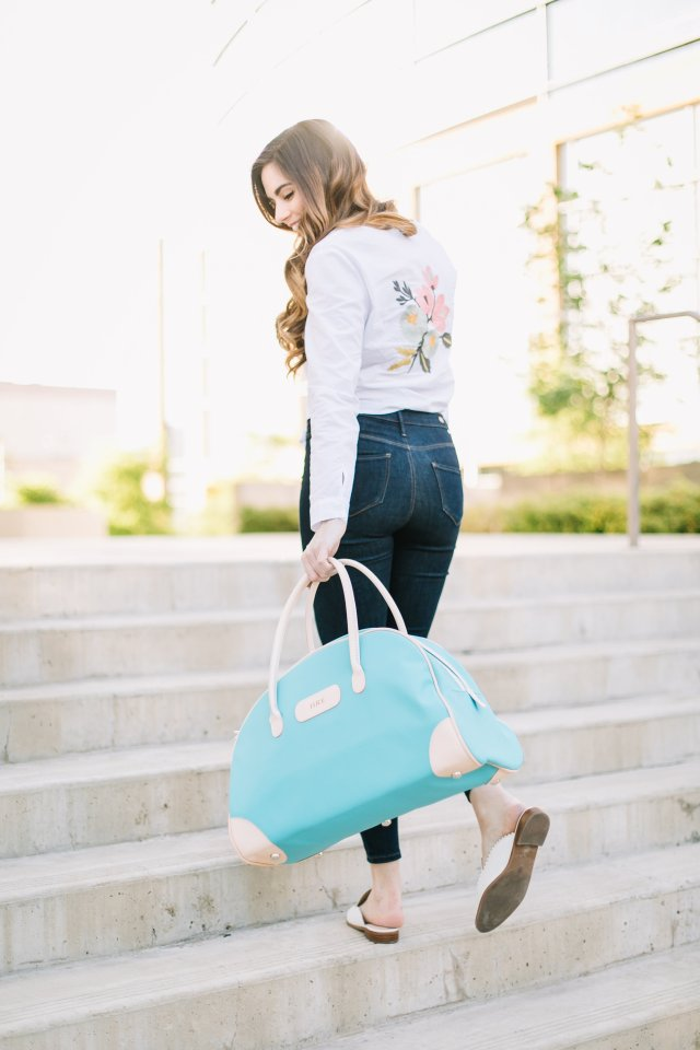jon hart luggage - why the quality of your luggage matters | By, Hilary Rose | fashion and lifestyle blogger from Austin Texas wearing white blouse and slip ons