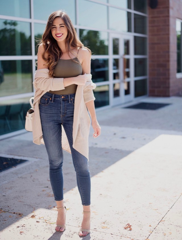 cozy fall cardigan nordstrom high waisted madewell jeans olive bodysuit henri bendel bag steve madden suede chunky sandals fall fashion autumn style texas blogger inspiration