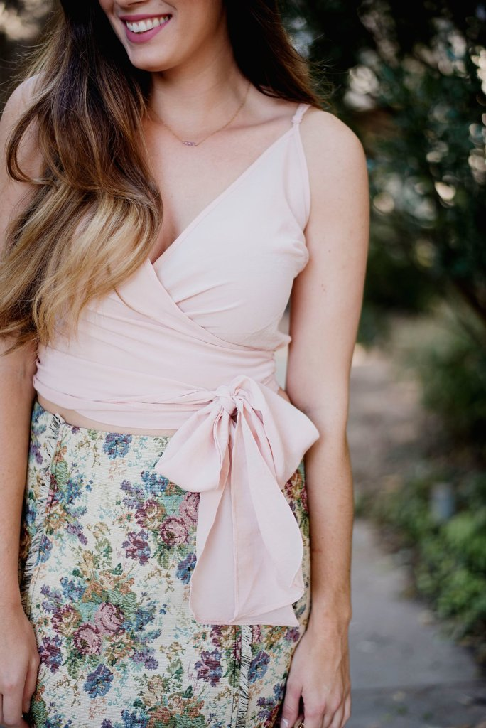 tapestry mini skirt asos wrap cami tank top steve madden carrson sandals fall outfit southern blogger