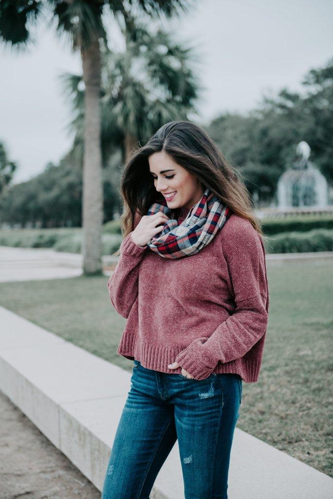 chenille sweater pineapple fountain downtown charleston plaid scarf fall style chucktown blogger photographer